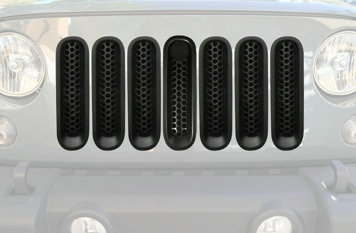 Bolaxin 7pcs Black Matt Front Grill Mesh Grille Insert with Key Hole Fit Hood Lock for Jeep Wrangler Jk Rubicon Sahara /& Unlimited 2007-2015 Upgrade Clip in Version