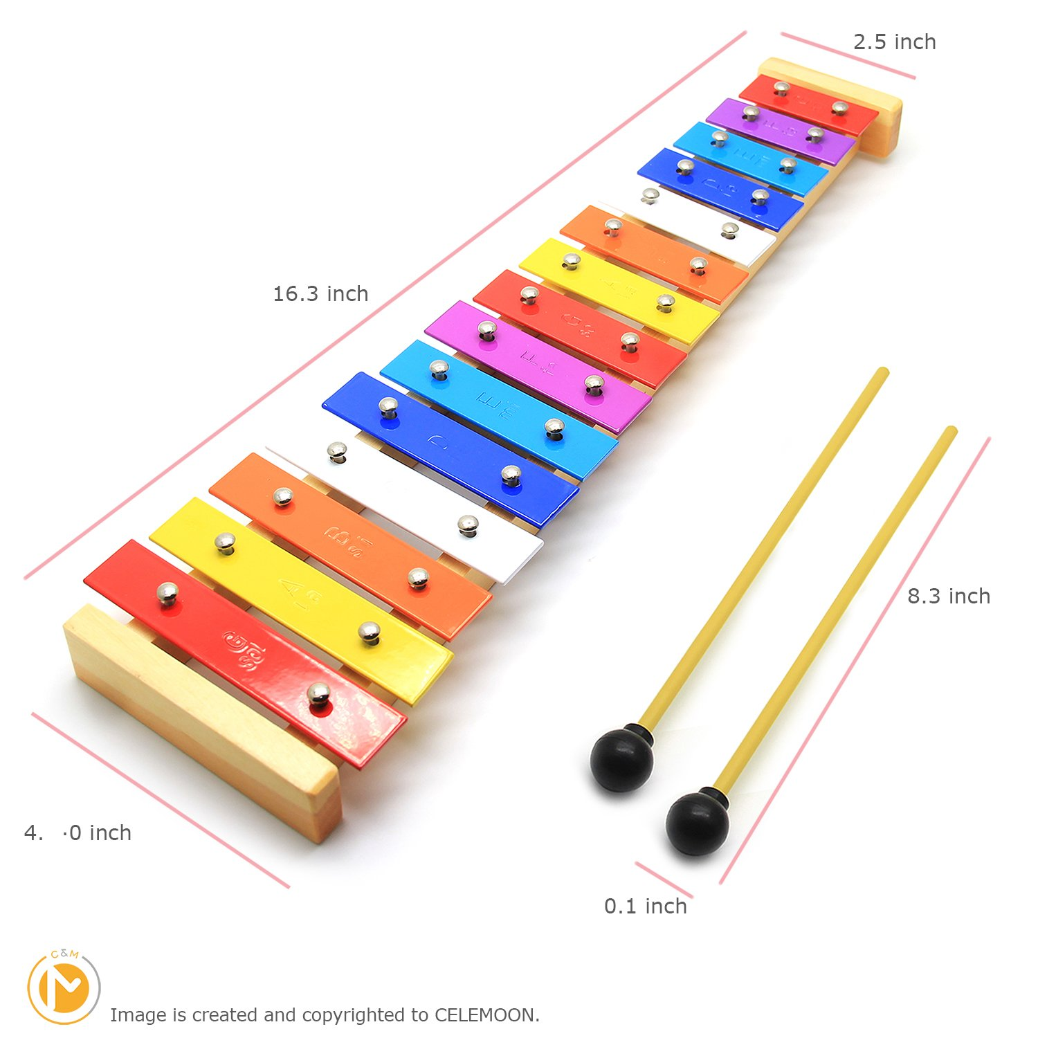 CELEMOON Natural Wooden Toddler Xylophone Glockenspiel For Kids with Multi-Colored Metal Bars Included Two Sets of Child-Safe Wooden Mallets (15-tone) by CELEMOON (Image #5)