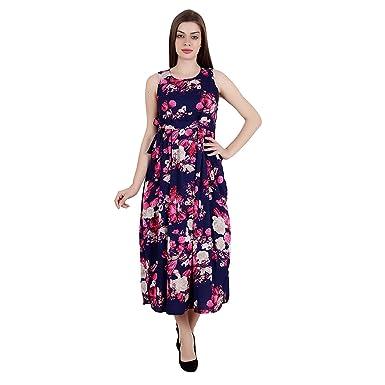 2285ed7a78e8 My Swag Women s Gorgeous Floral A-line Sleevless Round Neck Blue Medium Maxi  Dress