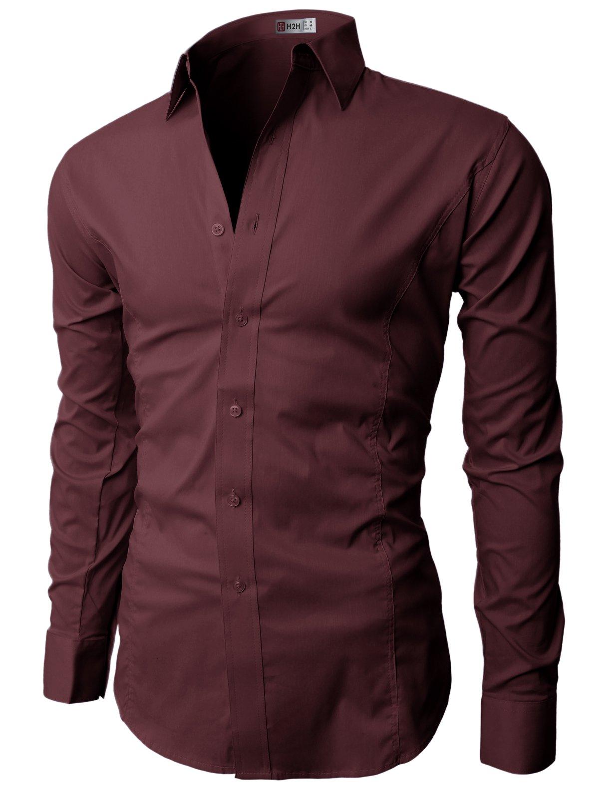 H2H Mens Regular Fit Long Sleeve Button-End Closure Dress Shirts WINE M (JASK14)
