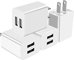 USB Wall Charger Plug 4 Pack 5V 2.1Amp Cube Dual Port Travel Power Charger Adapter for iPhone Xs/XS Max/XR/X/8/8 Plus/7/6S/6S Plus/6/SE/5S/5C iPad, Samsung Galaxy/S9/S8/S7/S6 LG and More