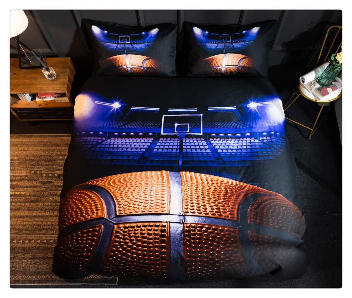 Homebed 3Dスポーツフットボール寝具セット ティーンボーイズ用 掛け布団カバーセット 枕カバー付き クイーンサイズ 掛け布団カバー3点セット 枕カバー2枚 Twin XL B07J3B2S1T バスケットボール Twin XL