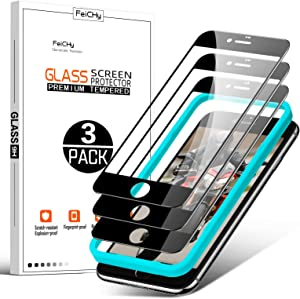 FeiCHy for iPhone 8 plus Screen Protectors or 7 plus with 5.5 Inch(3 Pack), for Anti-scratch,Anti-dust and Anti-burst Tempered Glass Screen Protector iPhone 8 Plus/7 Plus - Clear,Black border