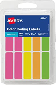 "Avery Removable Color-Coding Labels, Removable Adhesive, 1/2"" x 1-3/4"", Assorted Neon Colors, 180 Labels (6724)"