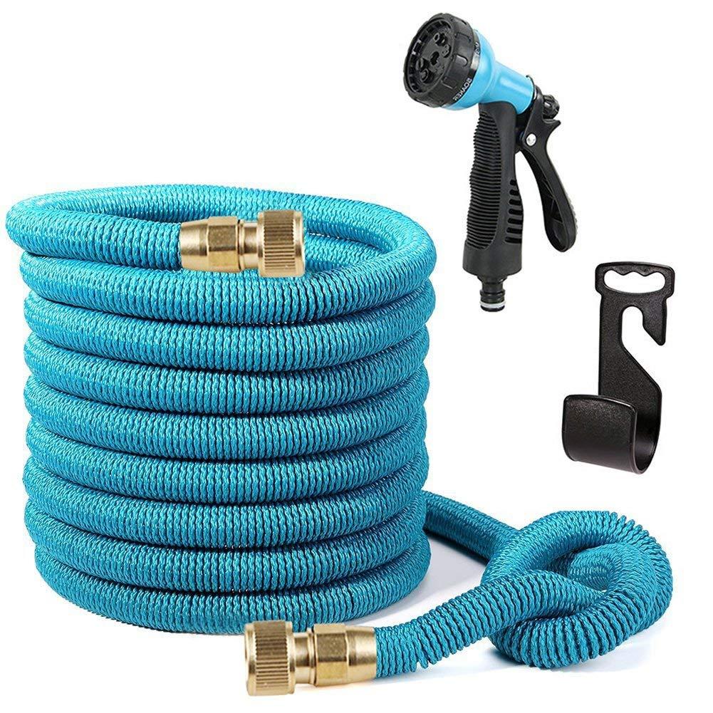 Tubo da Giardino Blu Tubo acqua giardino flessibile 15 Metri, Ultra Resistente Tubo Pieghevole con Pistola a Pressione e Raccordo in Ottone Ideale per l'irrigazione del giardino e il lavaggio auto