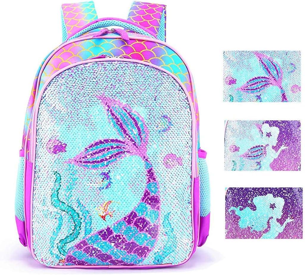 Reversible Sequin School Backpack Lightweight Little Kid Book Bag for Preschool Kindergarten Elementary (17