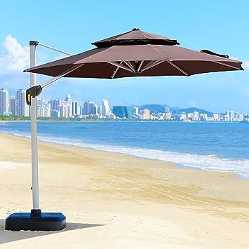 PURPLE LEAF Morado de hojas 2 nd generación cuadrado superior 11 pies Patio paraguas Offset para