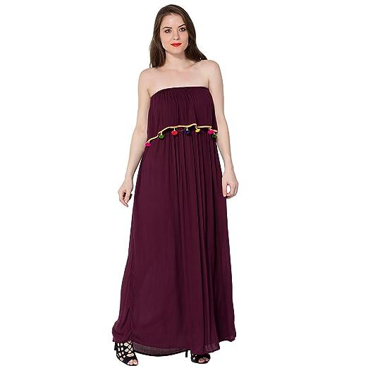 dacfa895bd Secret Bazaar Women s Partywear Rayon Crepe Tube Neck Solid Maroon Maxi  Dress  Amazon.in  Clothing   Accessories