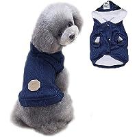 Bwealth - Suéter para perro, 2 capas, forro polar, ropa cálida para perro, abrigo clásico de punto para invierno, abrigo…