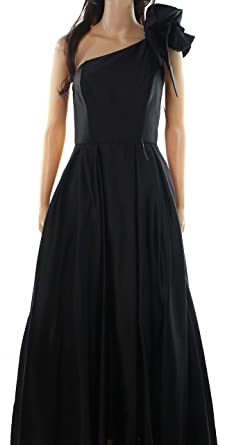 ea00c2f8797 Image Unavailable. Image not available for. Color  Betsy Adam Womens One  Shoulder Ruffle Ball Gown Dress Black 2