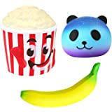 Desire Deluxe Jumbo Squishies Super Slow Rising Toy Scented Squishy Pack Toys for Boys and Girls Large 3D Popcorn Panda Banana Set