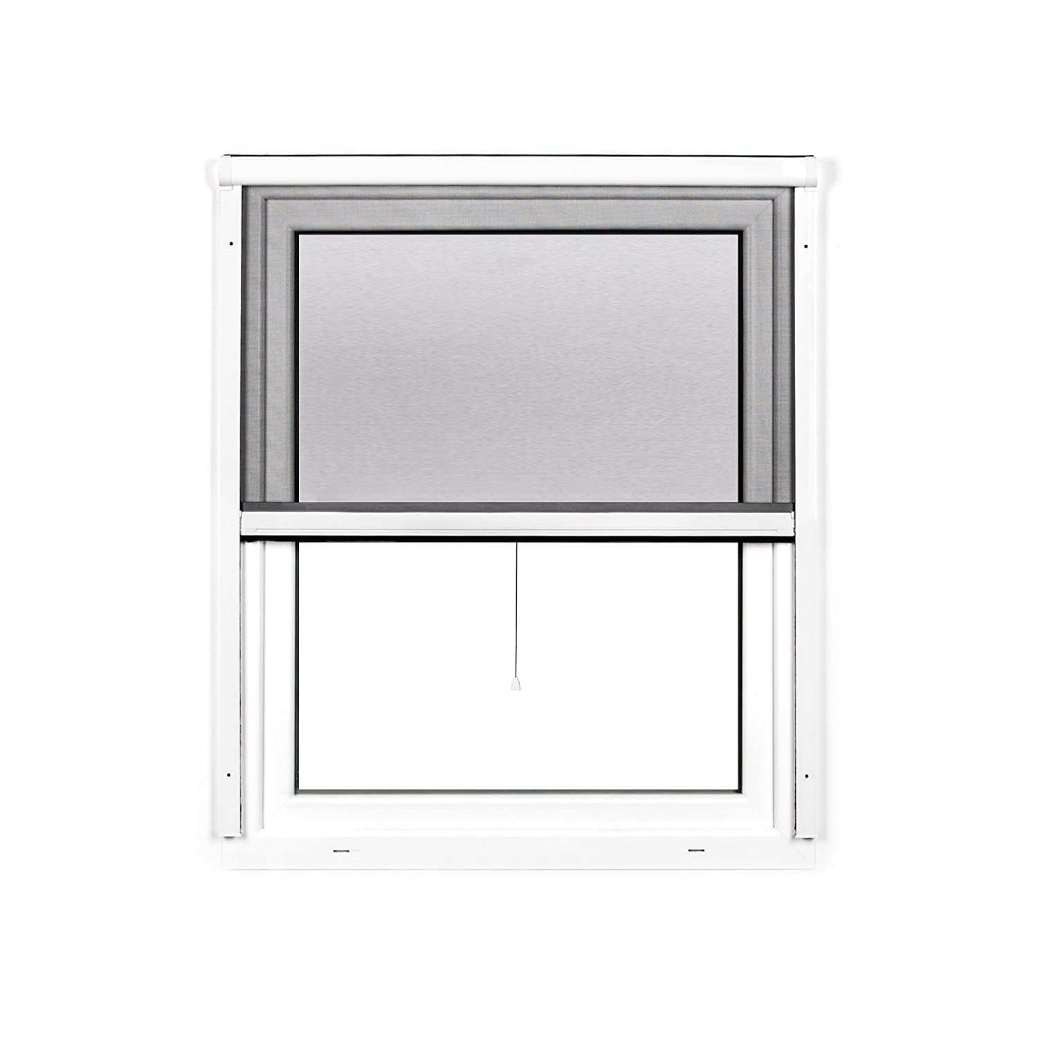 JAROLIFT 2 in 1 Volaris Roller Fly Screen for Windows - Retractable Insect Screen - PVC Frame 100 x 140 cm (W x H), White