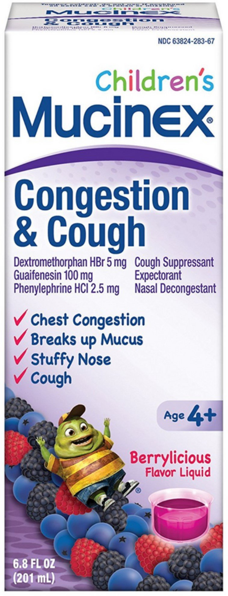 Mucinex Children's Congestion and Cough Liquid, Berrylicious Flavor, 6.8 oz (Pack of 12) by Mucinex