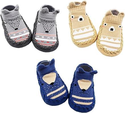 Cartoon animaux tricoté anti-dérapant Infant Baby Floor Chaussettes bébé chaussons Smart