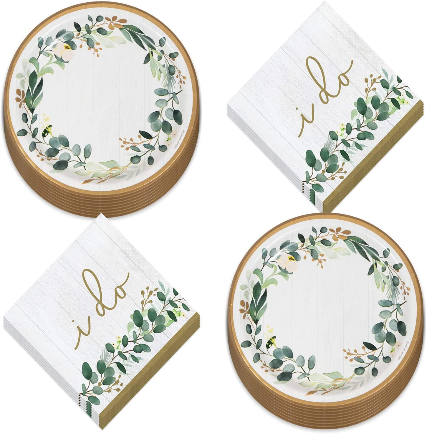 Eucalyptus Greens Garden of Love Bridal Party Supplies - White Wood Plank Paper Dinner Plates &