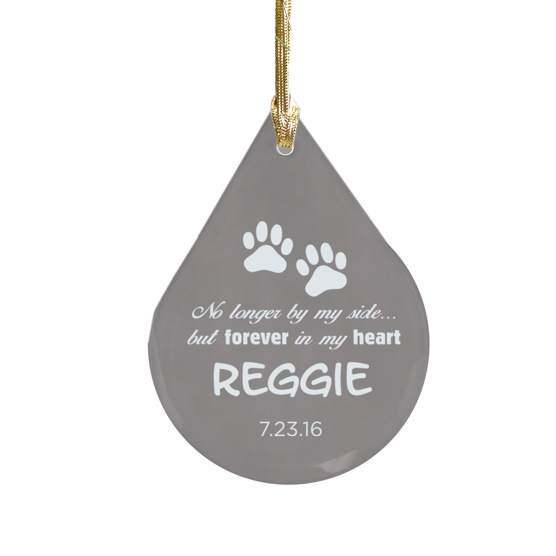 Engraved Pet Memorial Tear Drop Glass Ornament, 3 3/4'' x 2 5/8'' x 1/8''