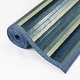 Venice Natural Bamboo 5' X 8' Floor Mat, Bamboo Area Rug Indoor Carpet, Wood Grain Blue Finish, Non Skid Backing
