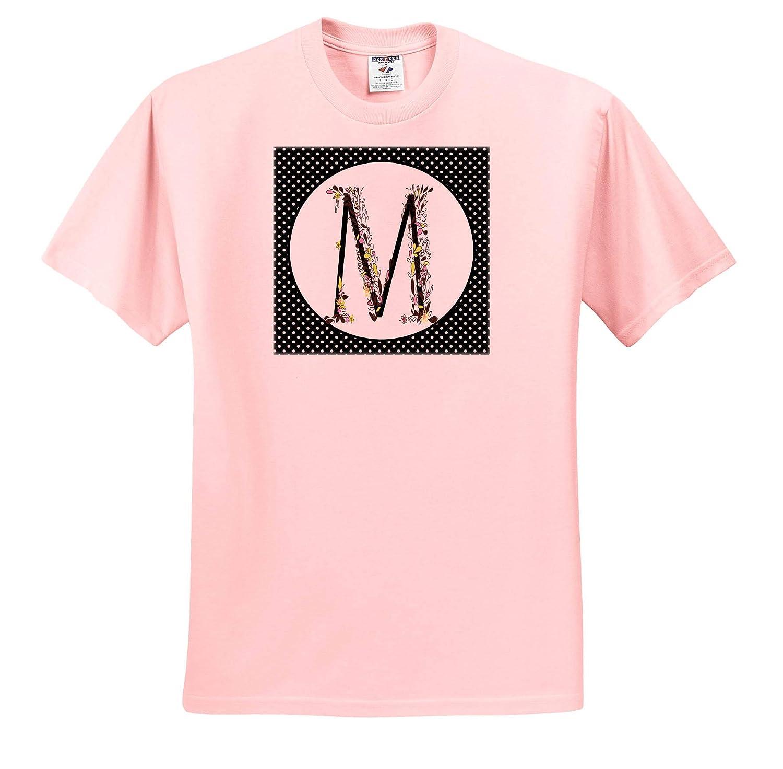 Black Flourish and Flowers Monogram M Cute Pink 3dRose Anne Marie Baugh Adult T-Shirt XL Monograms ts/_318058 Yellow