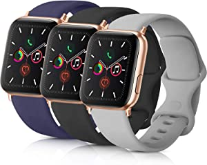 Pack 3 Compatible with Apple Watch Band 38mm 40mm 42mm 44mm, Soft Silicone Band Replacement for Apple iWatch Series 4, Series 3, Series 2, Series 1 (Navy Blue/Black/Gray, 42mm/44mm-M/L)