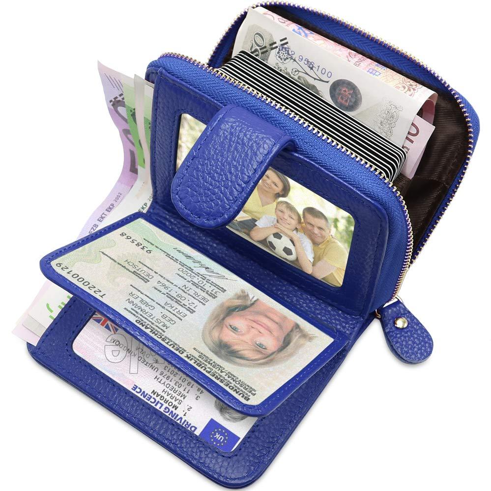 4ada4ae7388de ENONEO Kreditkartenetui RFID Schutz Kartenhalter Geldbö rse Damen Leder mit  12 Karten 4 ID Windows ...