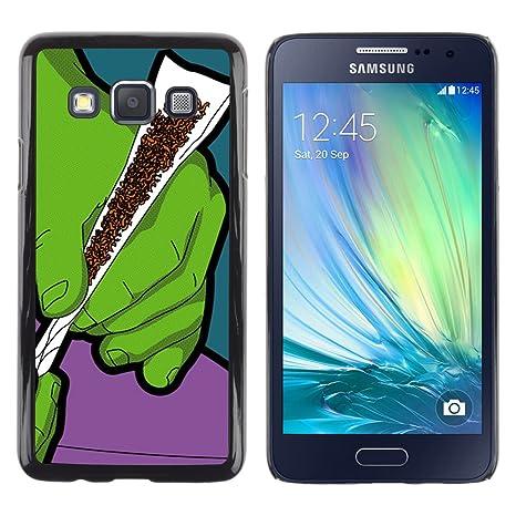 9896e3c5ea5 QCASE / Samsung Galaxy A3 SM-A300 / humo verde cannabis tabaco pintura arte  manos