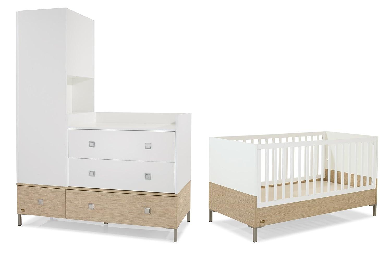 Herlag H1969-009 Kinderzimmer Kim bestehend aus: Kinderbett inklusiv Umbauseiten, Sockel 150 cm, Kommodenaufsatz, Schrank 1-türig