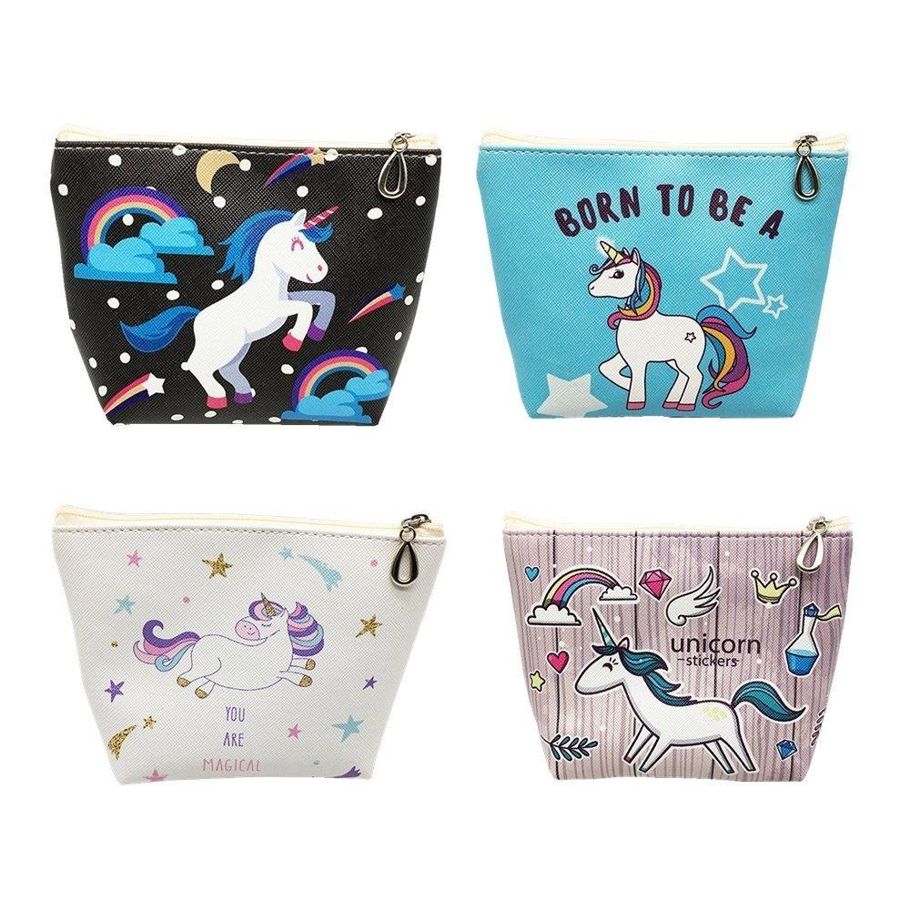EUGU 4Pack Belle Licorne Crayon Cas Porte-Monnaie Pochette Cosmétique Maquillage Sac pour Enfants Mignon Licorne Cadeaux pour les Filles