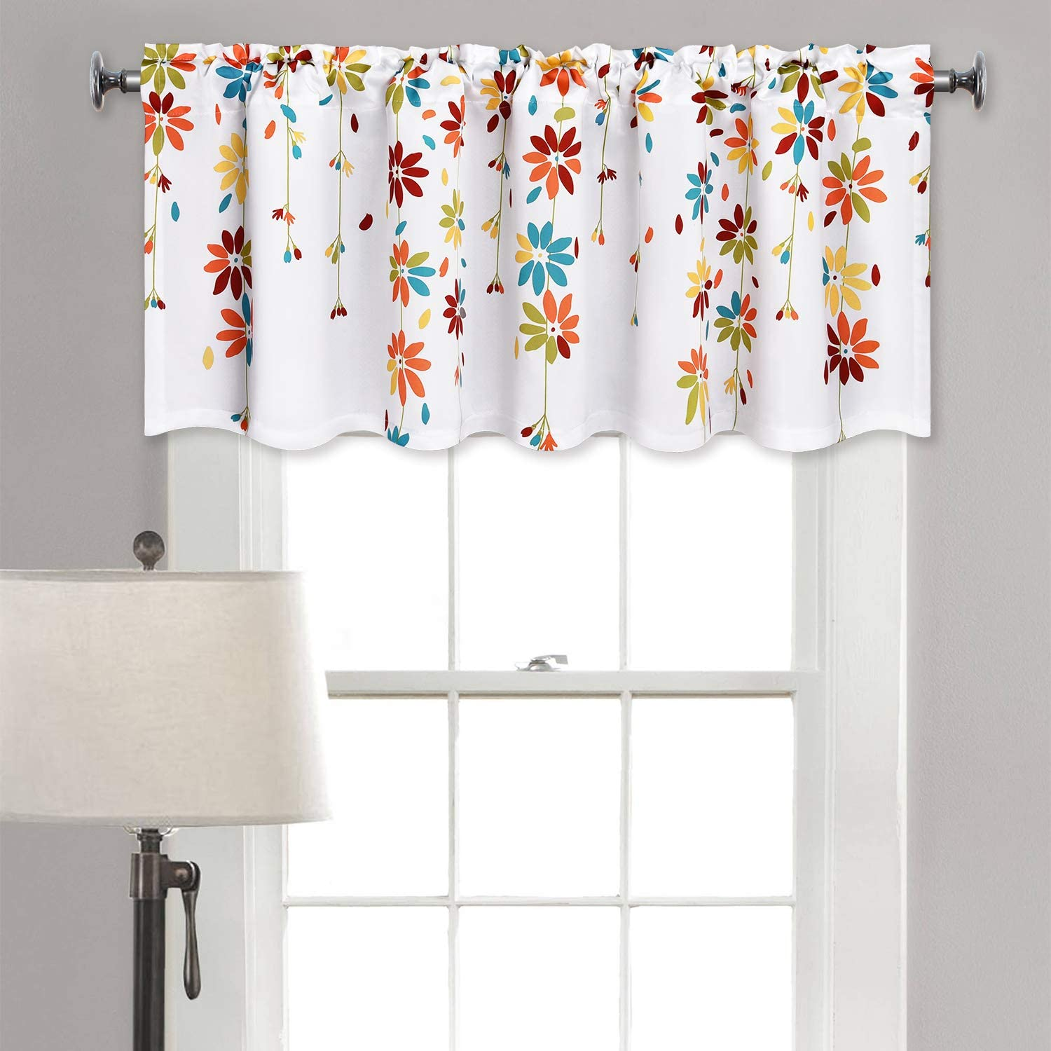 Yastouay Flowers Window Curtain Valance Floral Rod Pocket Curtains Valance for Window 52 × 18 Inches, Orange
