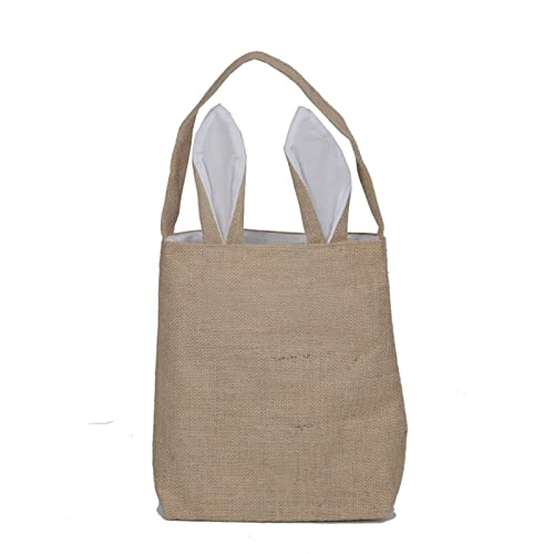 09cb292a1f51 Oath_song Women's Bunny Ears Jute Bag DIY Canvas Tote Bag (T16-brown ...