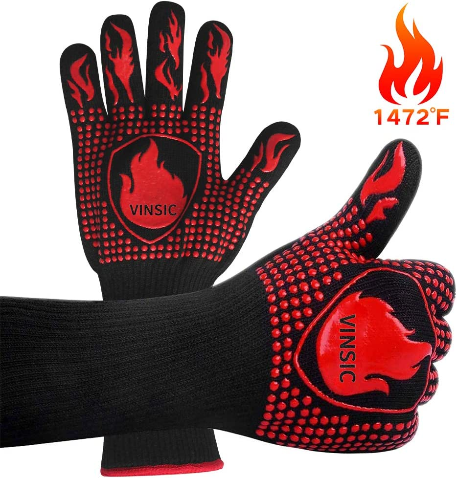 VINSIC BBQ Gloves Oven Gloves,Silicone Oven Mitts Heat Resistant with Fingers, Barbecue Fire 1472℉ Grade Kitchen Grill Gloves Gift for Barbecue, Cooking, Baking, Welding, Cutting, 14 inch, 1 Pair