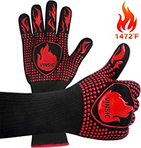 VINSIC BBQ Gloves Oven Gloves,Silicone Oven Mitts Heat Resistant with Fingers, Barbecue Fire 1472? Grade Kitchen Grill Gloves Gift for Barbecue, Cooking, Baking, Welding, Cutting, 14 inch, 1 Pair