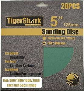 TigerShark 5inch No Hole Film Sanding discs Adhesive back(PSA) Wet & Dry Grit 800/1200/1500/2000 5 Pcs Each Assortment