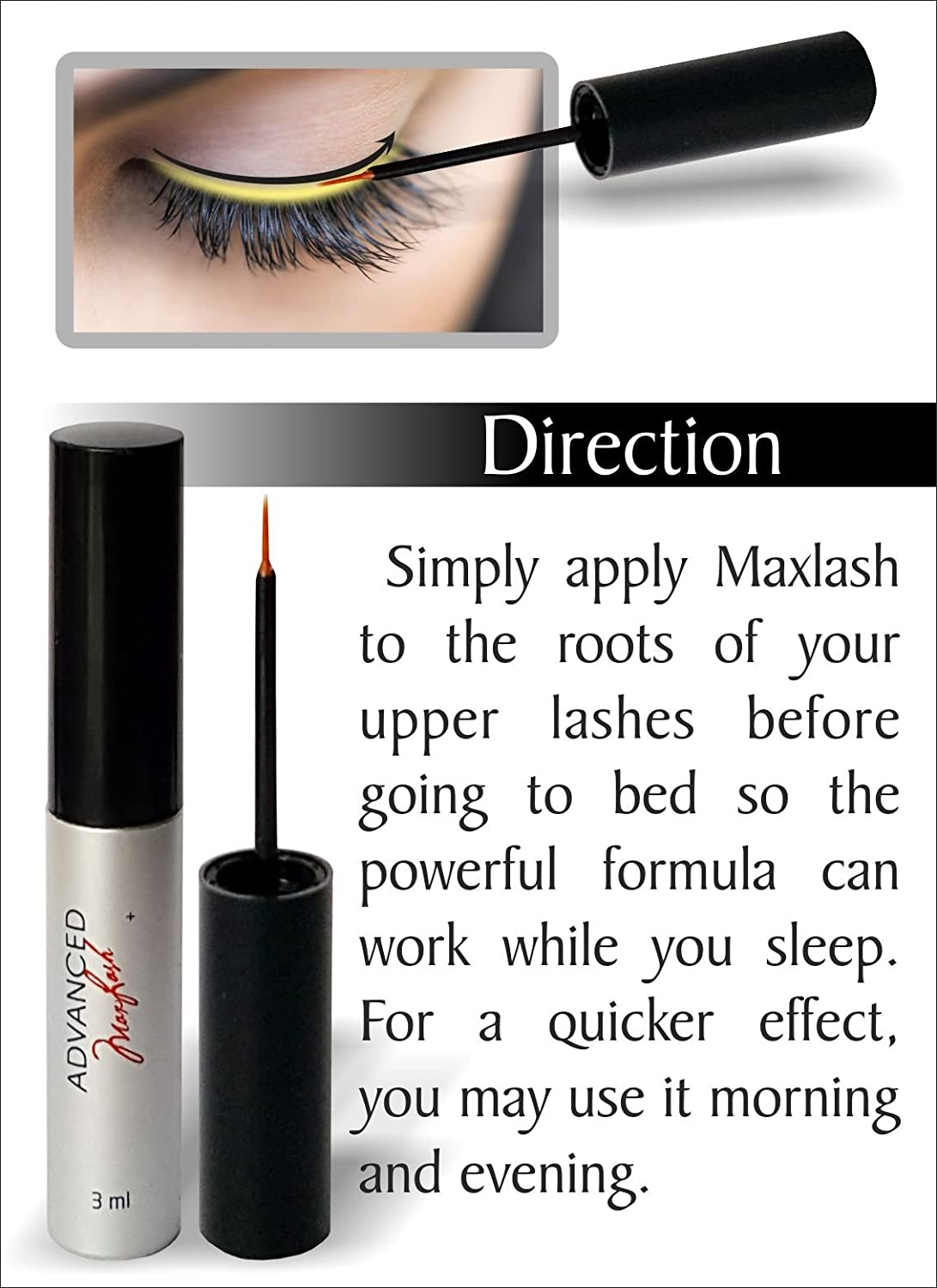 9b702e4cb3f MAXLASH Natural Eyelash Growth Serum 3ml - WORKS OR YOUR MONEY BACK .Grows  Longer, Fuller, Thicker Eyelashes in one Month.: Amazon.co.uk: Beauty