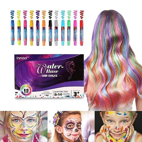 Innoo Tech Mechas de Colores, Maquillaje Infantil, mechas Pelo niña, 12 Colores,