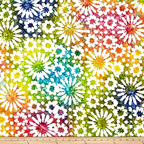Textile Creations Indian Batik Cascades Daisy Bright Multi Fabric by The Yard, ()