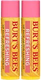 Pink Grapefruit 保湿唇膏两件套 Burt's Bees 唇膏,男女皆宜,2 x 0.15 盎司