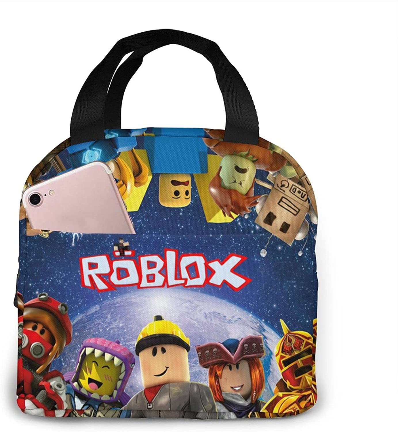 Cartoon Game Lunch Box For Boy Insulated Lunch Bag Large Lunch Tote Bag Cooler Tote For Work Picnic Durable Oxford Cloth Warm Snack