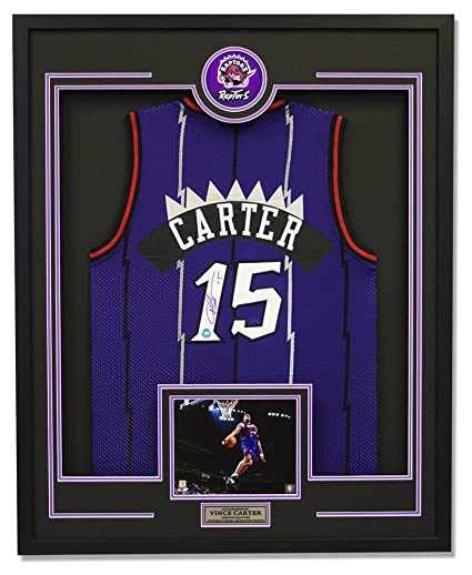 5b45961b960 Vince Carter Toronto Raptors Autographed Signature Rookie Basketball 30x34  Framed Jersey - COA Included