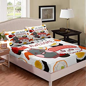 Erosebridal Sushi Bed Cover, 3D Cute Food Cartoon Sushi Fitted Sheet Full Size, Japanese Style Traditional Style Sheet Set for Kids Child Girls Boys Teens Bedroom Decoration