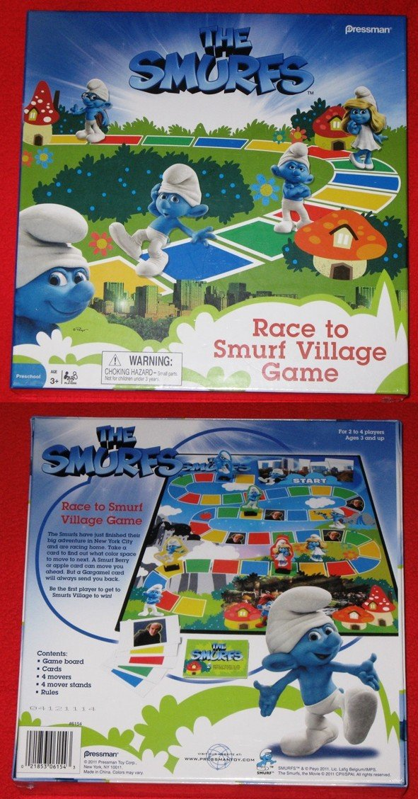 Pressman Toy Mens The Smurfs - Race to Smurf Village Game Black Medium