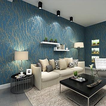 QIHANG Modern Minimalistische Biegung Baum Muster Vlies Tapete Rolle Blau  Grau Farbe 0,53m(