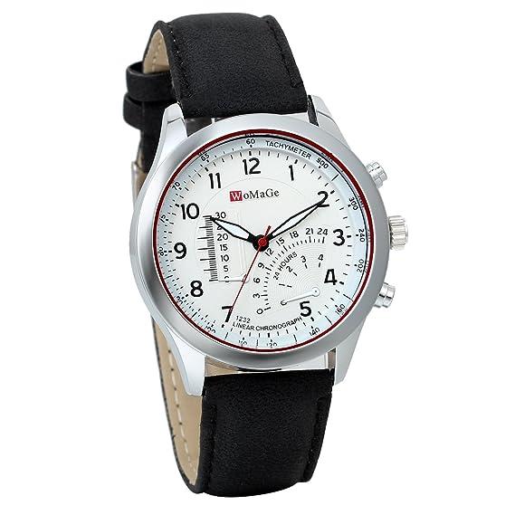 JewelryWe Clásico Relojes Grandes Hombre, Correa De Cuero Negro, Blanco Sensor de Temperatura Decorativo, Reloj De Caballero Elegante, Buen Regalo 2016: ...
