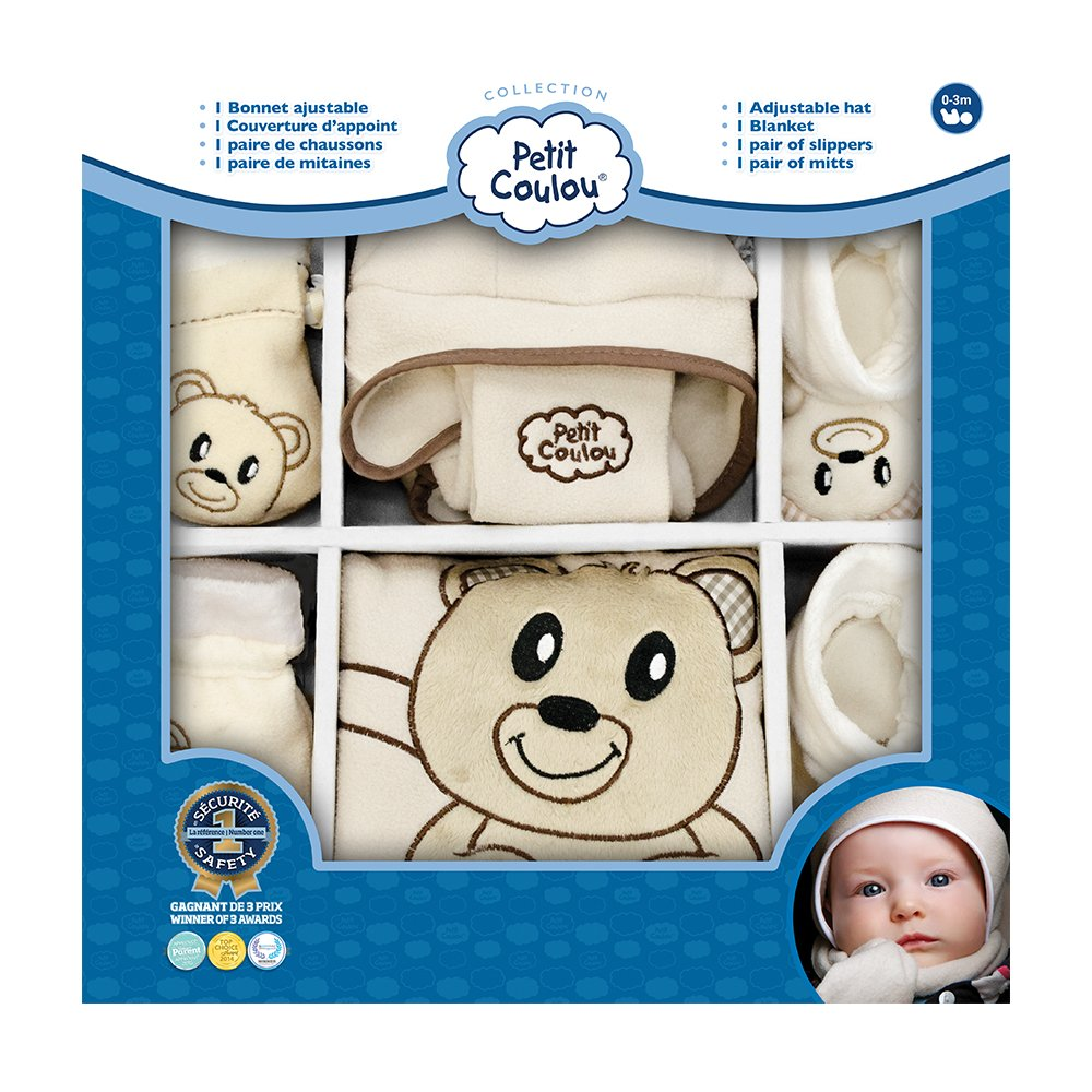 Petit Coulou Hat, Slippers, Mitts and Blanket Gift Set, Beige/Brown Bear PC1408