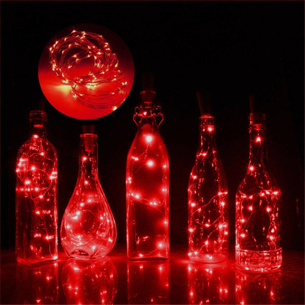 PSFS Discoloration 2M 20 LED String Lights, Waterproof Decorative Lights for Bedroom, Patio, Garden, Gate, Yard, Parties, Wedding (Red C)