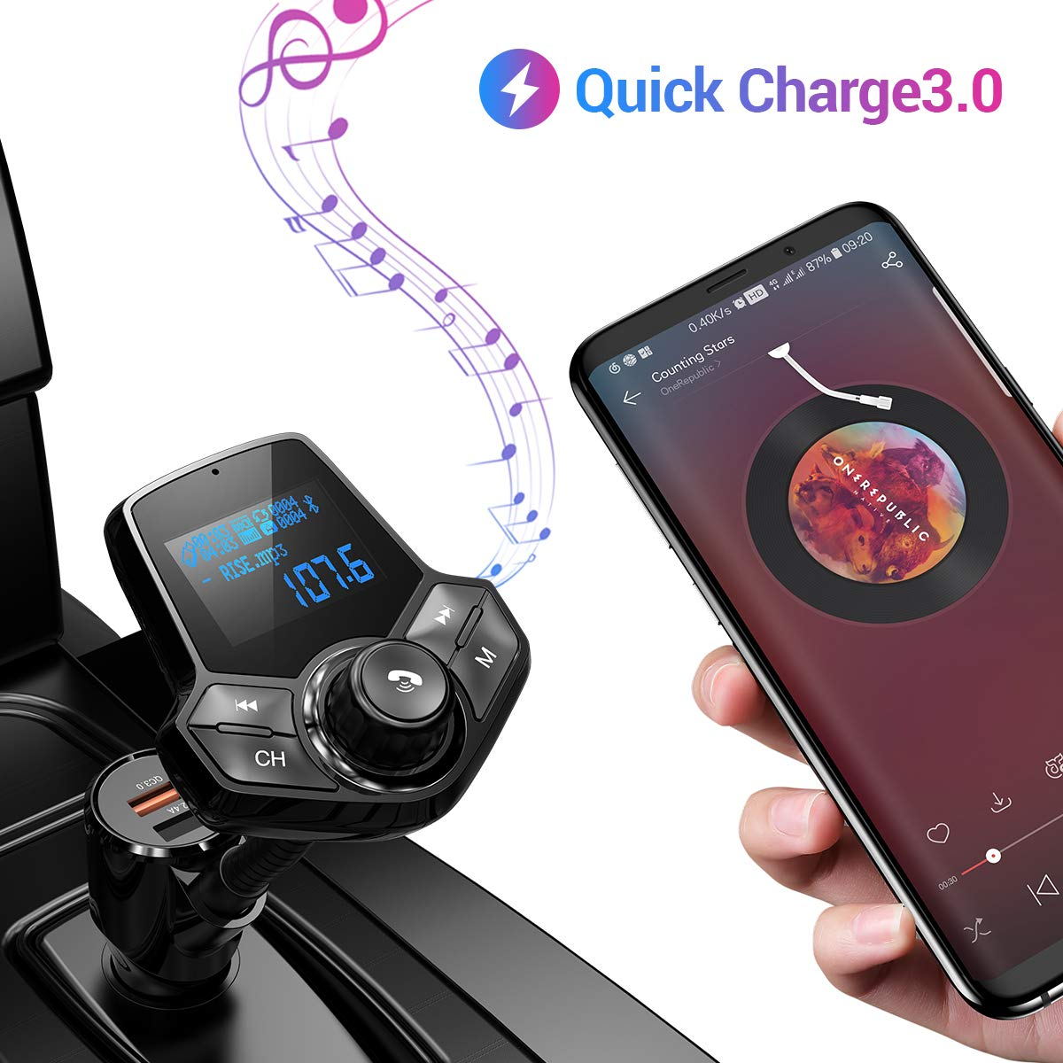 Bluetooth FM Transmitter for Car, QC3.0 Fast Charger Fm Transmitter Bluetooth, Bluetooth Radio Adapter Wireless Car Adapter Hands-Free Kit for AUX Input/Output, TF Card and U Disk by Ainope