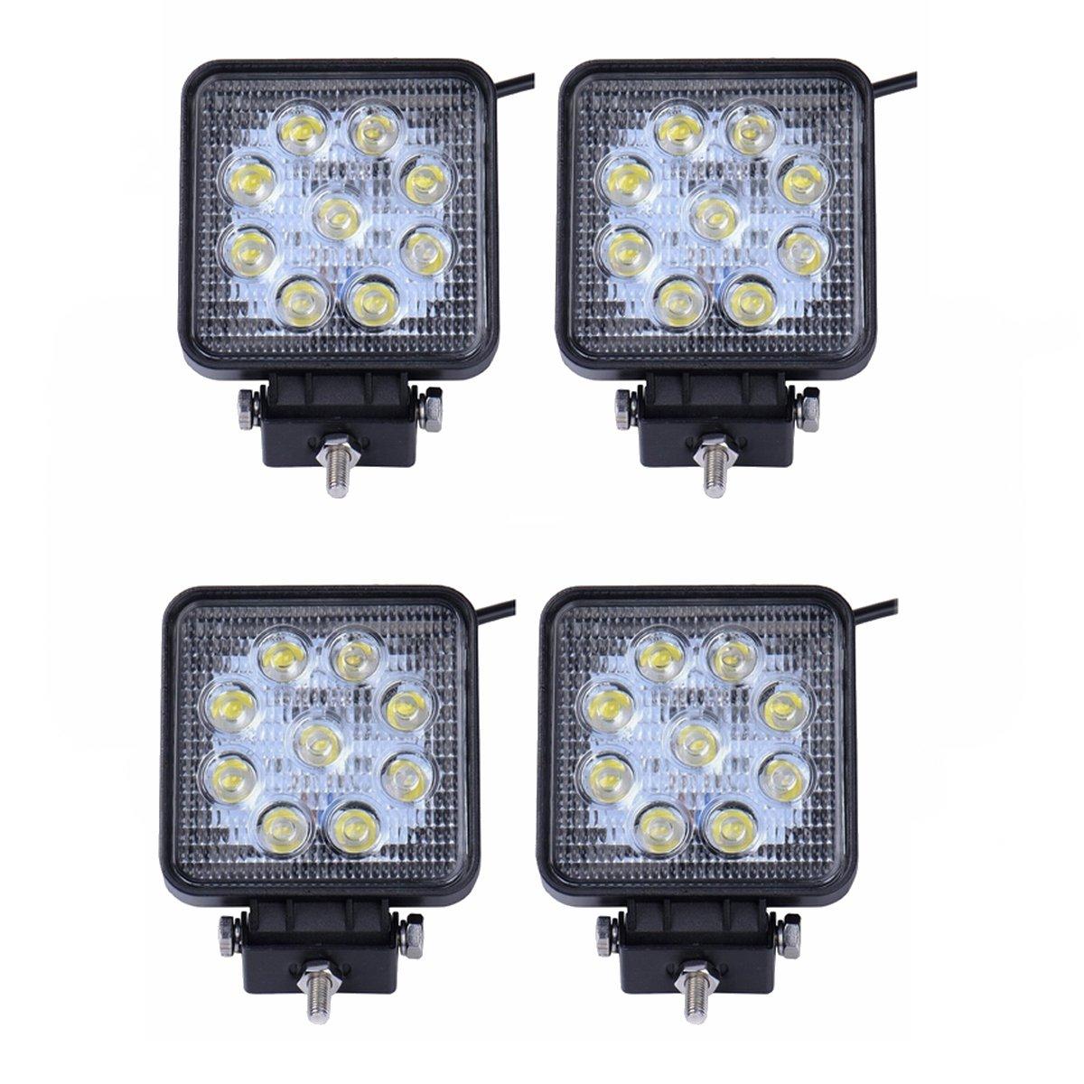 SAILUN 4X27W Faros de trabajo, Faros LED Offroad IP67 Impermeable,Foco Lampara de Coche 12V/24V (4*27W,Square) Generic