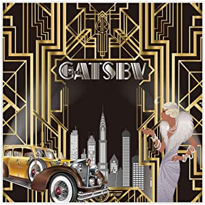 Allenjoy 8x8ft The Great Gatsby Themed Backdrop for Adult Celebration Retro Roaring 20's 20s Party Art Decor Happy 1st Birthday Wedding Decoration Pictures Background Supplies Photo Booth Prop