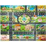 Doolland プレイマット 交通道路地図 赤ちゃん 遊びマット クロールマット 防水 折りたたみ クライミングマット 滑り止め 子供 知育玩具 ロードマップ おもちゃマット 130*100cm