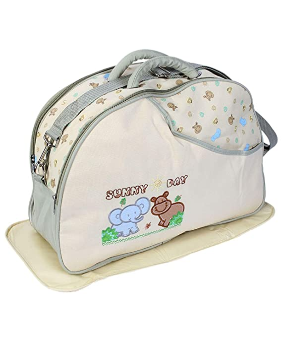 Unique Ideas New Born Baby Multipurpose Polyester Diaper/Mother Bag with Holder Diaper Changing Multi Compartment (Printed Cream, Medium)