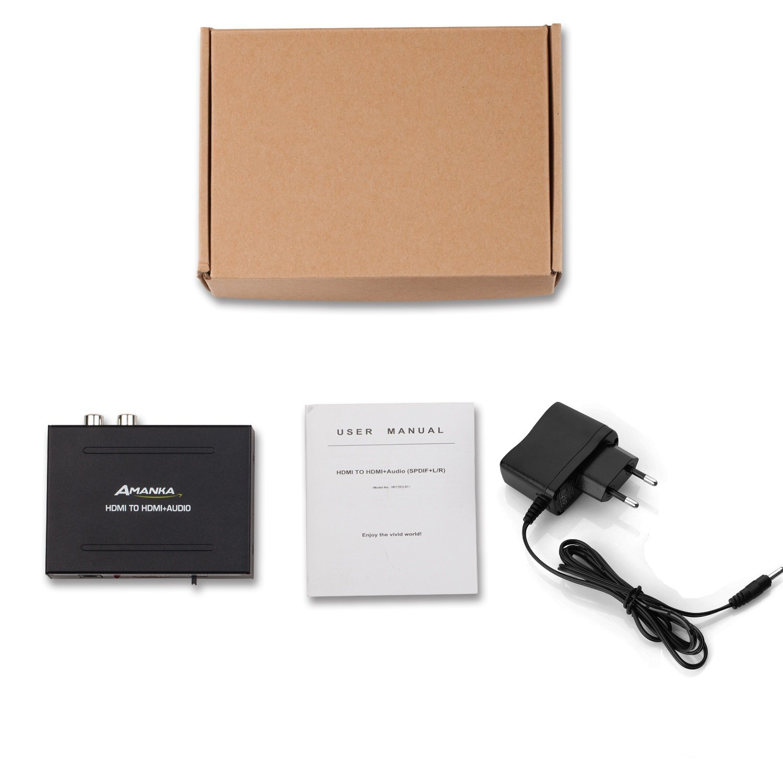1A DC Netzteil f/ür Phone TV Blu-ray Player,Schwarz AMANKA Digitaler Audio Konverter HDMI zu HDMI SPDIF//Toslink RCA L//R Audio Konverter Adapter Ausgang mit 5V